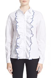 Vivetta 'Rouge' Embroidered Ruffle Placket Blouse White Blue Klein