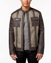 Inc International Concepts Men's Colorblocked Faux Leather Jacket Only At Macy's Taupe Tone