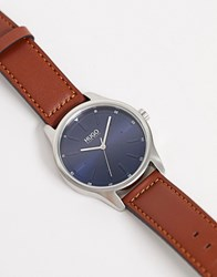 Hugo 1530029 Dare Leather Watch In Brown