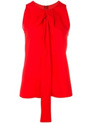 Maison Martin Margiela Twist Front Sleeveless Blouse Red