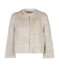 Max And Moi Cropped Fur Jacket Beige
