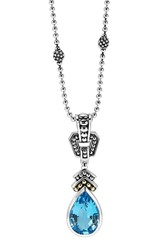 Women's Lagos 'Caviar Color' Teardrop Pendant Necklace Blue Topaz