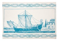 Thomas Paul Roman Ship Tea Towel Blue