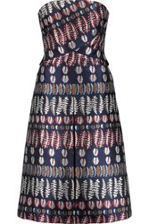 Tory Burch Strapless Metallic Jacquard Dress Multi