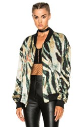 Baja East Print Satin Bomber Jacket In Abstract Black Green Neutrals Abstract Black Green Neutrals