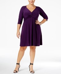 Love Squared Trendy Plus Size Knotted Fit And Flare Dress Purple