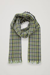 Cos Checked Wool Scarf Green