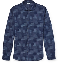 Nn.07 Lindh Slim Fit Denim Jacquard Shirt Blue