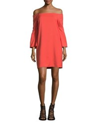 Design Lab Lord And Taylor Off The Shoulder Shift Dress Deep Coral