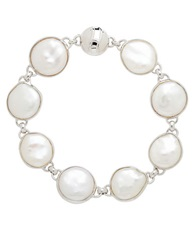 Honora Style Sterling Silver Freshwater Pearl Coin Bracelet Pearl Silver