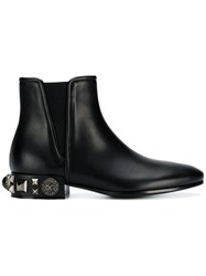 Dolce And Gabbana Embellished Heel Chelsea Boots Black