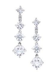 De Beers 18Kt White Gold Arpeggia One Line Diamond Earrings Metallic