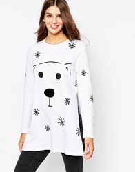 Asos Christmas Sweatshirt With Flock Polar Bear White