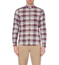 Fred Perry Polka Dot Checked Cotton Shirt Red