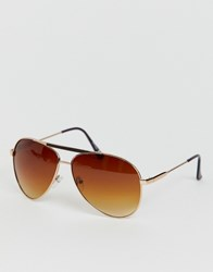 Jeepers Peepers Aviator Sunglasses In Gold Brown