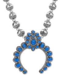 American West Lapis Lazuli Beaded Pendant Necklace 25 1 3 Ct. T.W. In Sterling Silver 17 3 Extender