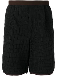 Kolor Crocodile Embossed Effect Shorts Black
