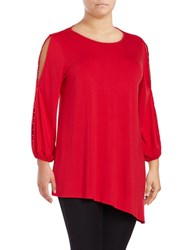 Vince Camuto Plus Long Sleeve Slit Sleeve Beaded Asymmetrical Blouse Red