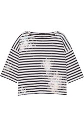 J.Crew Painted Striped Cotton Jersey Top Midnight Blue
