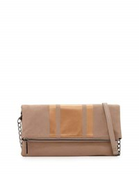 Neiman Marcus Faux Suede Fold Over Clutch Bag Taupe