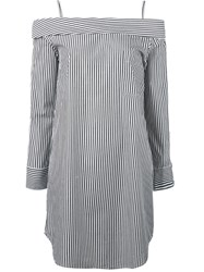 Robert Rodriguez Off Shoulders Striped Mini Dress Women Cotton 0 White