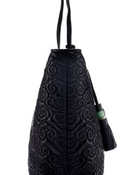 Shanghai Tang Cloud Quilted Leather Tote Black
