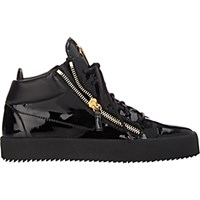 Giuseppe Zanotti Men's Patent Leather Double Zip Sneakers Black