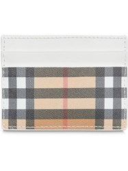Burberry Vintage Check And Leather Card Case Neutrals
