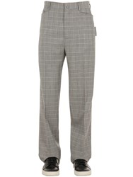 Lanvin 24Cm Light Wool Check Pants Grey