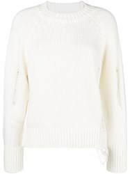 Federica Tosi Distressed Oversized Sweater White