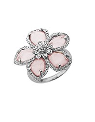 Lord And Taylor Rose Quartz Diamond Accented Ring In Sterling Silver