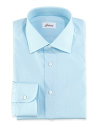 Brioni Micro Check Cotton Dress Shirt Aqua Blue Women's Size 16L