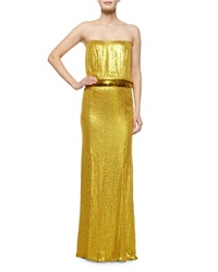 Kaufman Franco Strapless Sequin Gown Yellow