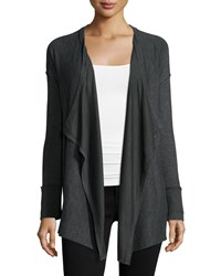 Splendid Alcove Open Front Cardigan Sweater Charcoal Grey