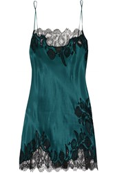 Carine Gilson Florence Lace Trimmed Silk Satin Chemise
