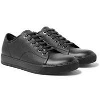 Lanvin Cap Toe Pebble Grain Leather Sneakers Black