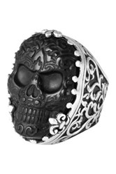 King Baby Studio Sterling Silver Baroque Scroll Ring Carved Stone Skull Black