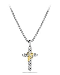 X Cross With Diamonds And Gold On Chain David Yurman Silver