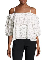 Lucca Couture Ruffled Cold Shoulder Top Blue