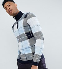 Asos Design Tall Knitted Turtle Neck Check Jumper With Zip In Blue Multi