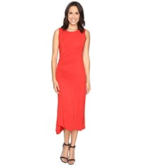 Heather Asymmetrical Shirred Midi Tank Dress Poppy Women's Dress