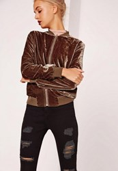 Missguided Petite Velvet Bomber Jacket Brown Bronze