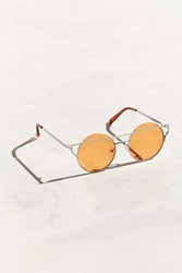 Urban Outfitters Barred Lens Round Sunglasses Dark Orange