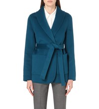 Michael Kors Wrap Front Wool And Angora Blend Jacket Peacock