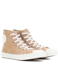 Chloe High Top Suede Sneakers Beige