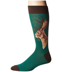 Socksmith Jackalope Forest Men's Crew Cut Socks Shoes Green