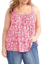 Addition Elle Love And Legend Plus Size Women's Braided Scoopneck Tank Honey Pink Floral