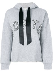 Forte Couture Logo Hoodie Cotton Polyester Grey