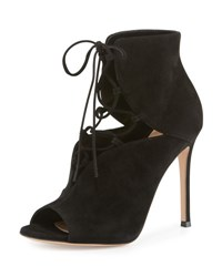Gianvito Rossi Julia Suede Cutout Lace Up 105Mm Bootie Black