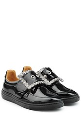 Maison Martin Margiela Patent Leather Buckle Front Sneakers Black